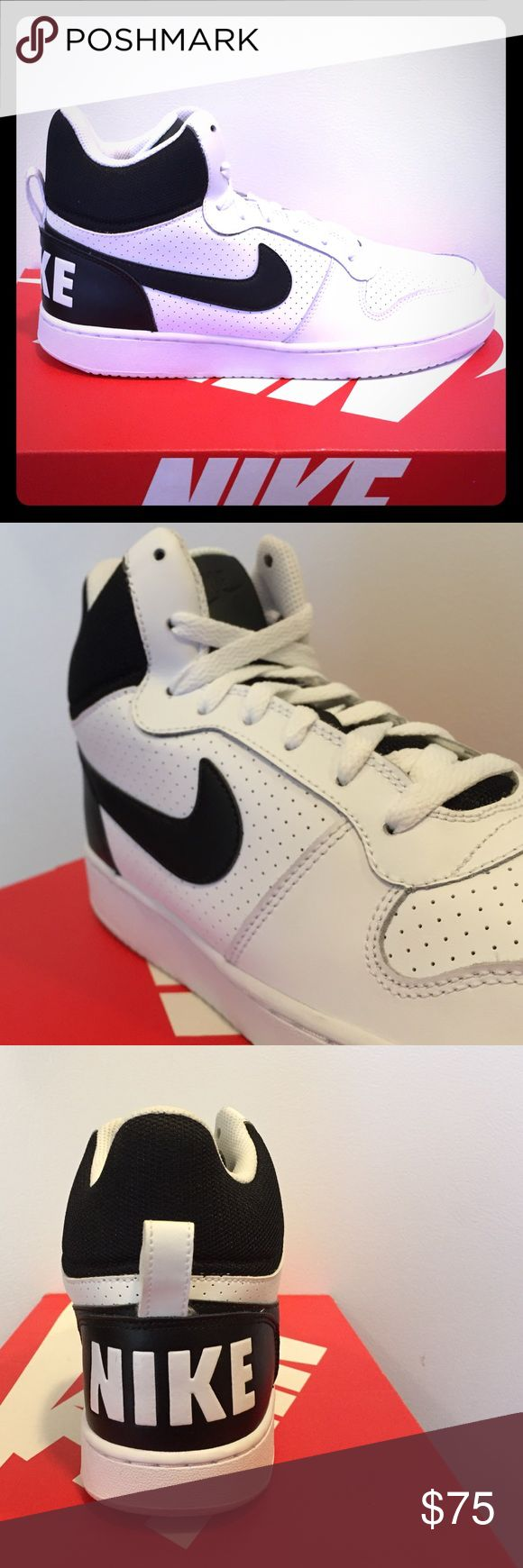 BRAND NEW Nike Courtborough Mids!!! Go BACK IN TIME with these heritage inspired mid top Nike Courtborough basketball shoes!!!eather stitch down overlay, rubber outsole and cushioned insole! Get retro with these RAD Nike Mids!!! Nike Shoes Athletic Shoes