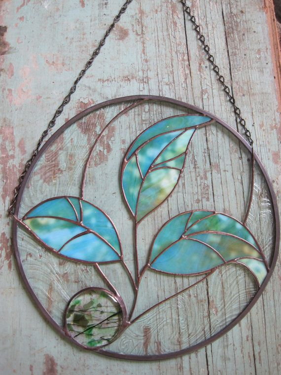 Stained Glass Three Leaf Round Seedling Panel by RenaissanceGlass