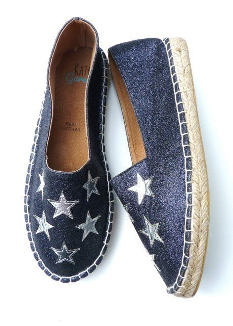 Silver Stars Navy Glitter Espadrilles  https://www.kategarey.com/collections/shoes