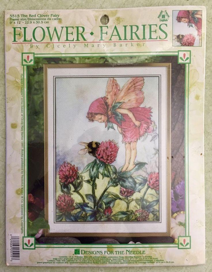 Fairy cross stitch kit red clover flower fairies 5515