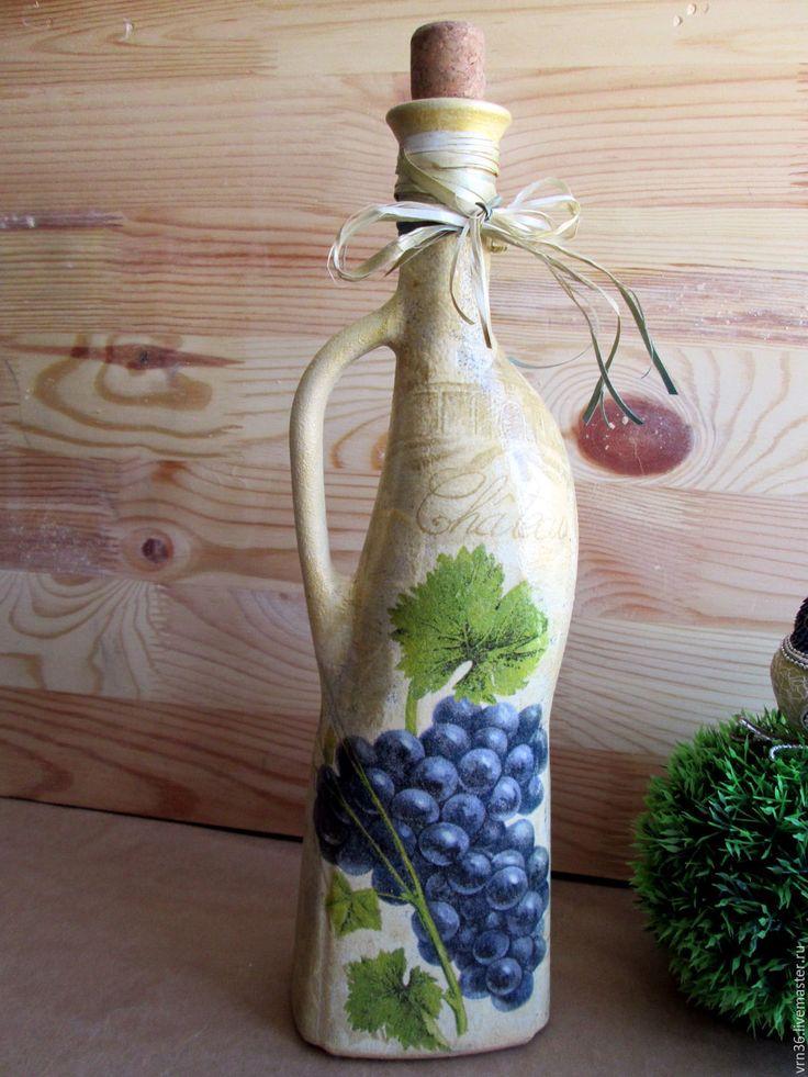 """Купить Бутылочка  для вина """"Виноградная кисть"""" - графин, Бутылка для вина, бутылка в подарок, бутылка стеклянная"""
