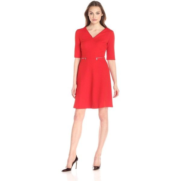 Maggy London Women's Chain Link Jacquard Fit-and Flare Dress (505 AED) ❤ liked on Polyvore featuring dresses, red v neck dress, v neck dress, fit and flare dress, red fit and flare dress and red jacquard dress
