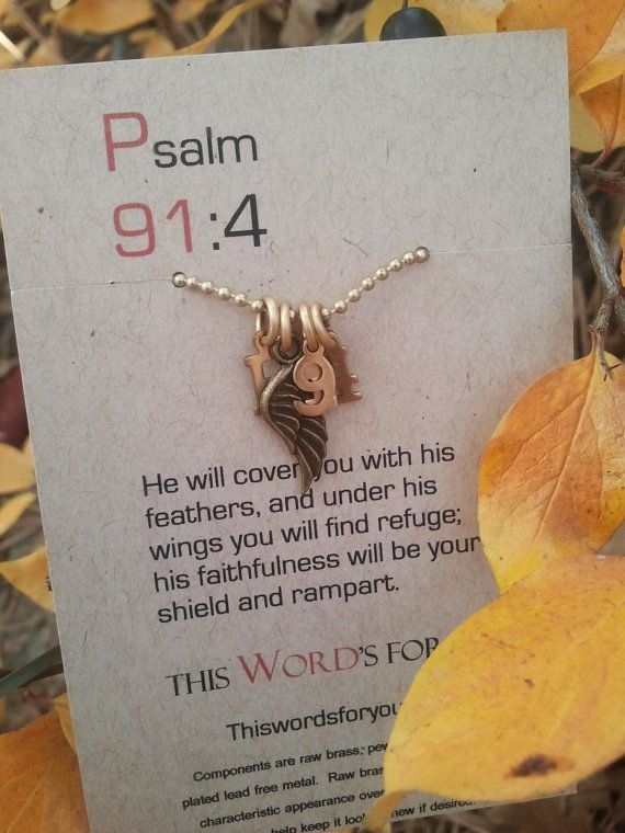 Christian jewelry-Psalm 91:4-His faithfulness will be your shield and rampart, $29.00 Etsy