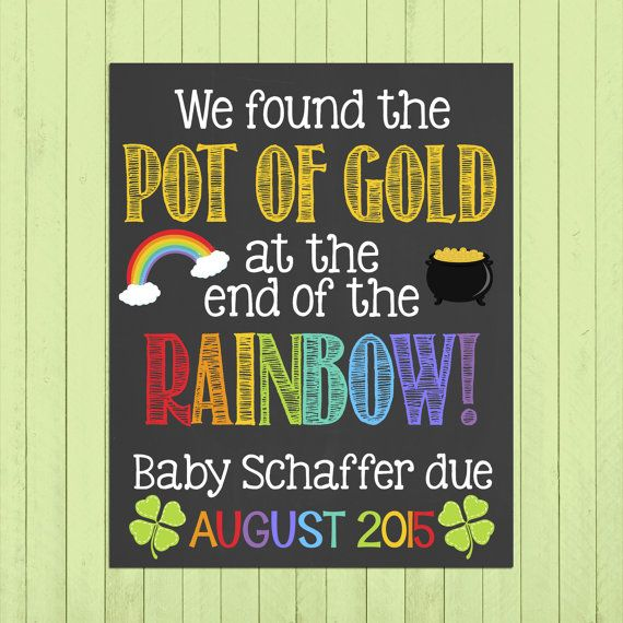 St. Patricks Day Pregnancy Announcement Chalkboard Poster Printable // Pot of Gold // Pregnancy Reveal Photo Prop // Expecting // Rainbow by PersonalizedChalk