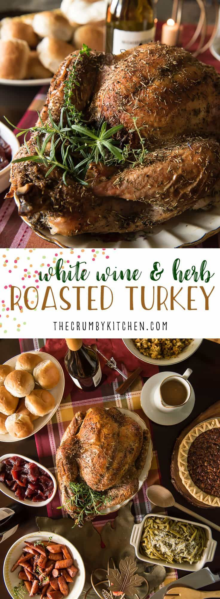 The juiciest holiday bird you'll ever eat! ThisWhite Wine and Herb Roasted Turkey is stuffed with fresh root veggies, bathed in white wine, and rubbed with a cocktail of herbs that is guaranteed to delight everyone at the table! #thanksgiving #turkey #recipe #holiday #recipes #whitewine #wine #herb #roastedturkey #christmas #meal