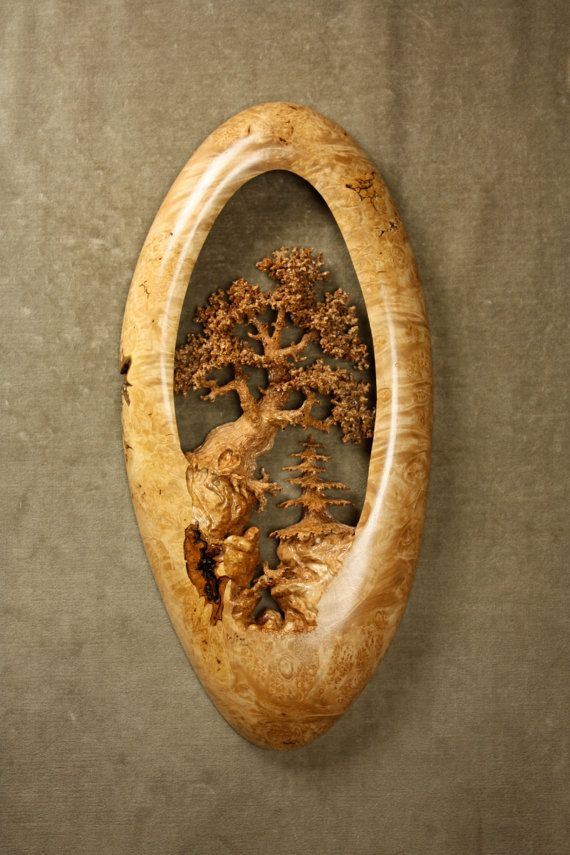 Unique oak tree wood carving home wall by