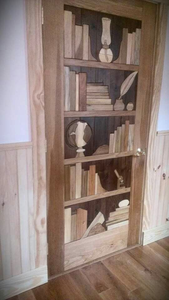 All natural solid wood intarsia door. Created using walnut, poplar, cherry, and oak. Artist: Courtney Rush