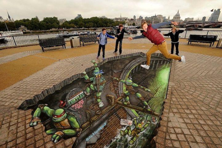 Teenage Mutant Ninja Turtles 3D Street Art in London