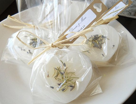 Suds + Scrubs: If you're a crafty bride, treat your guests to a homemade bar of soap made with refreshing herbs and spices. #DIY #Wedding #Favors