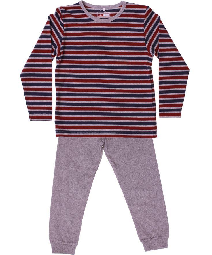 Name It pyjama met klassieke gestreepte top en grijze broek. name-it.nl.emilea.be