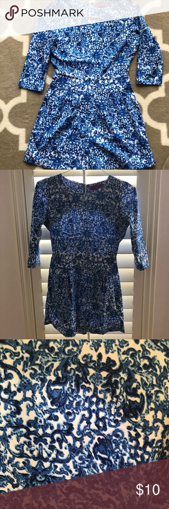 Blue and white print romper Blue/white print romper (playsuit) is lightweight and comfortable, super cute. Only worn once! Boohoo Other