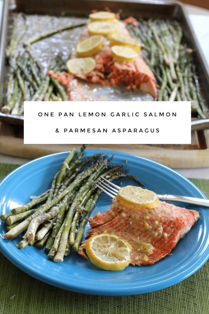 One Pan Lemon Garlic Salmon & Parmesan Asparagus Easy, Quick and Healthy Dinner Recipe