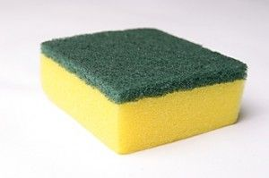 Sanitize a sponge:  Put the sink's stopper in and fill the sink with hot water.  add cup of bleach and let sit one hour.  Clean sponge, clean sink:)        Add one cup of household bleach.