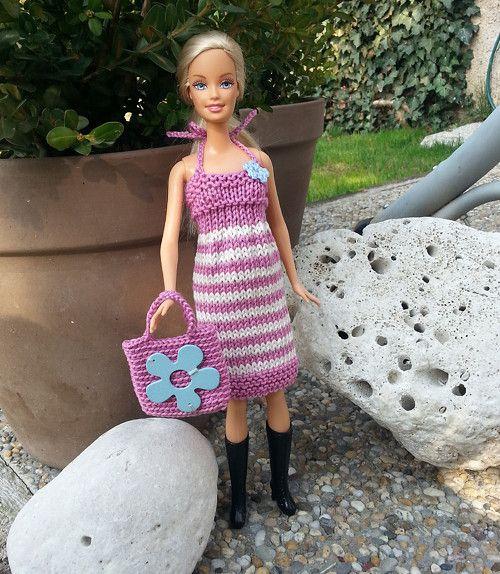 Růžovo-bílé šaty + kabelka pro Barbie
