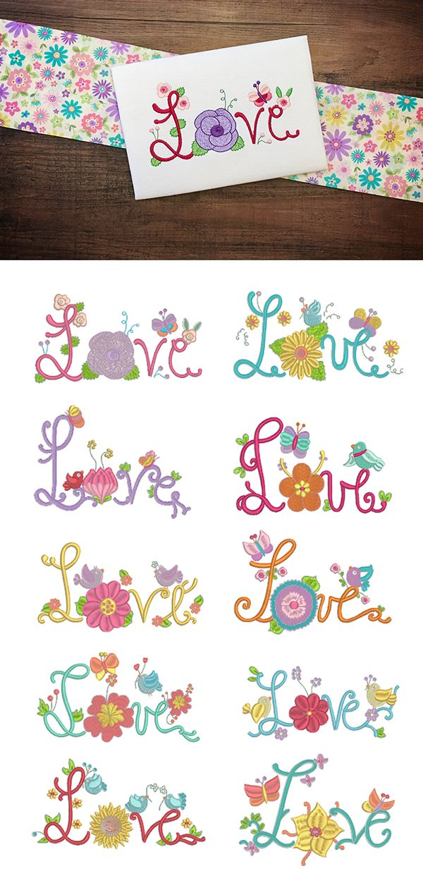 10 beautifully illustrated words of LOVE. Summer Love design set available for instant download at designsbyjuju.com