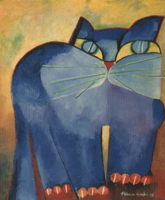 Gato Azul - Blue Cat | Aldemir Martins Ode to the cat - Pablo Neruda (excerpt) Oh little emperor without orb, conqueror stateless, minimum tigre ballroom, bridal Sultan sky tiles erotic, love the wind in the open