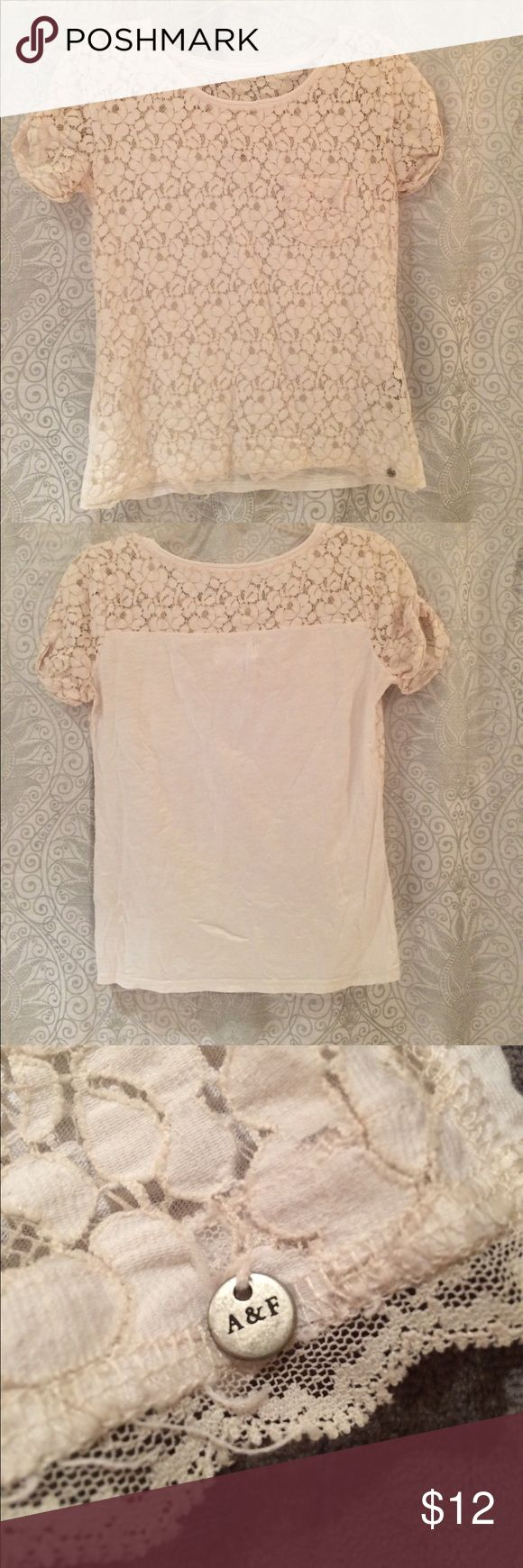Abercrombie & Fitch cream lace top elegant short sleeve cream lace top Abercrombie & Fitch Tops Blouses