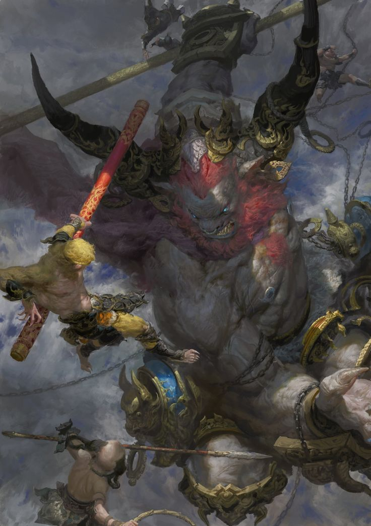 Bull Demon King vs Monkey King, Fenghua  Zhong on ArtStation at http://www.artstation.com/artwork/bull-demon-king-vs-monkey-king