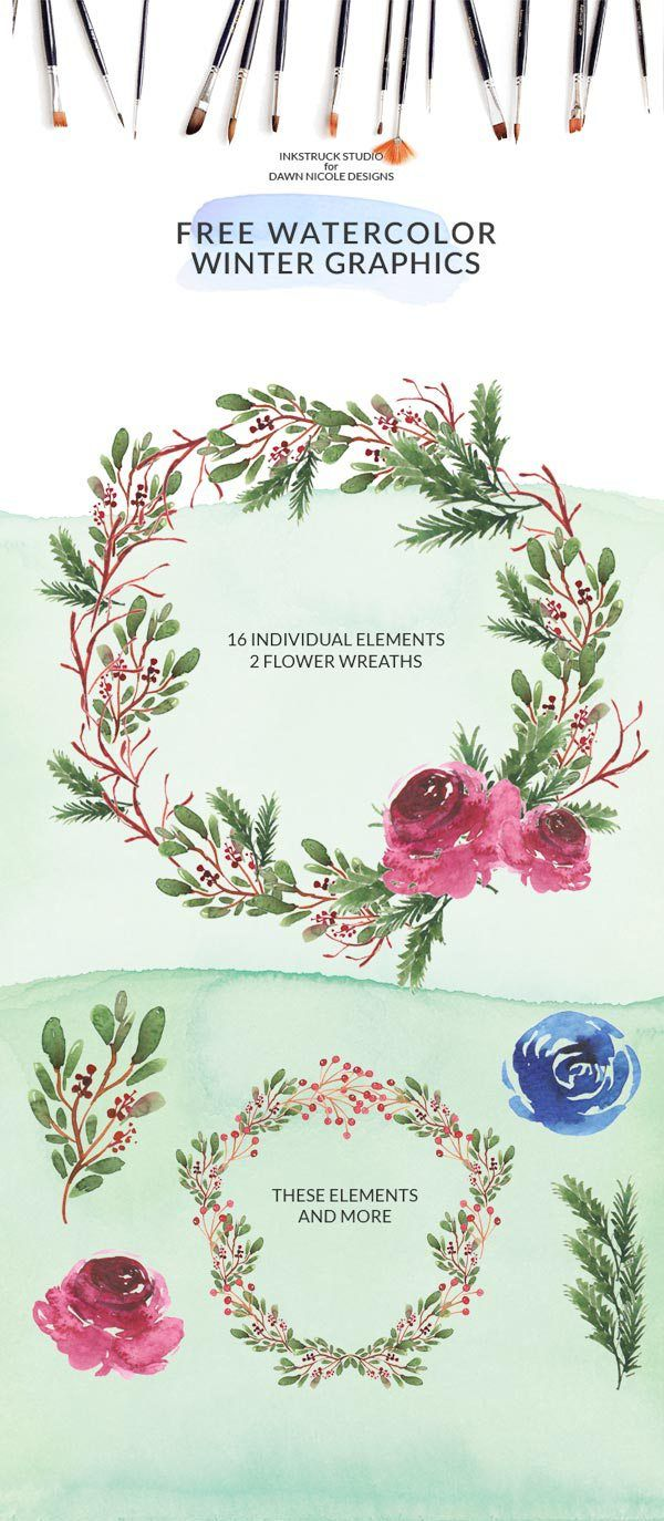Free Winter Watercolor Graphics Pack. Download this free winter watercolor graphics pack which you can use to re-create beautiful designs of your own. They're super simple to use!