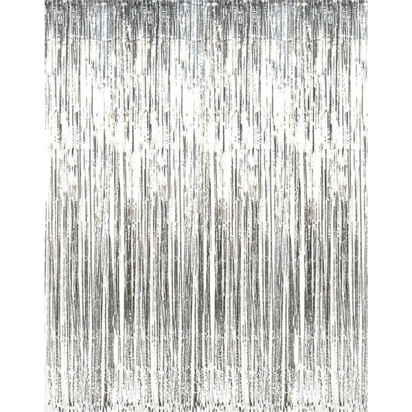 Rhode Island Novelty Metallic Silver Foil Fringe Curtains (1 Piece) ($11) ❤ liked on Polyvore featuring home, home decor, window treatments, curtains, foil fringe curtains, silver metallic curtains, foil curtains and fringe curtains