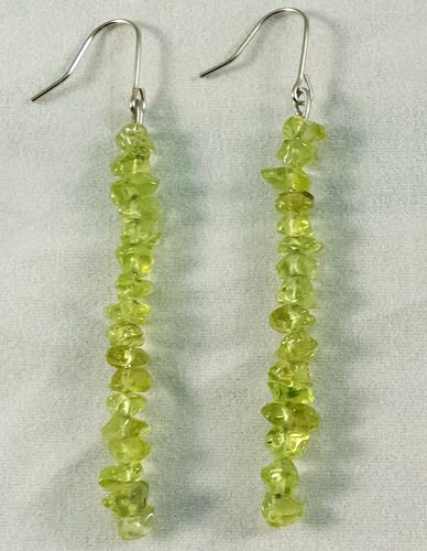 These are beautiful earrings made of Olivine. They measure at 4.5 cm.