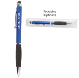 O237BL Stylus and ballpoint pen Features textured comfort grip and pocket clip Available in Black, Blue, Red, Green,Silver and Purple