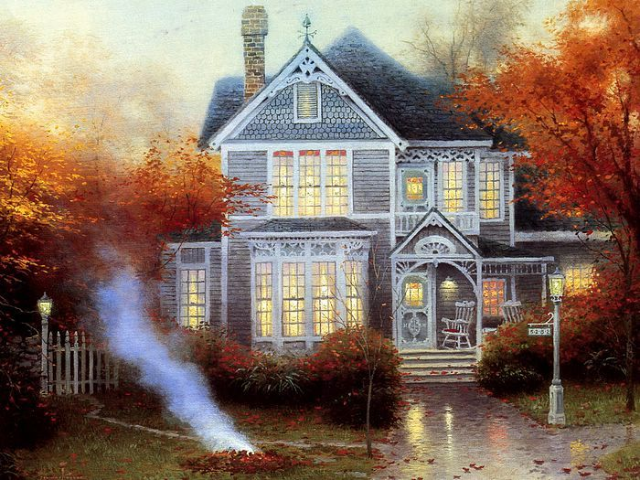 Romantic Victorian House - Heartwaming Paintings by Thomas Kinkade         My Fav Season by far, looking at this beautiful piece of artwork, I can almost smell the smells associated with it and it makes me feel incredible!
