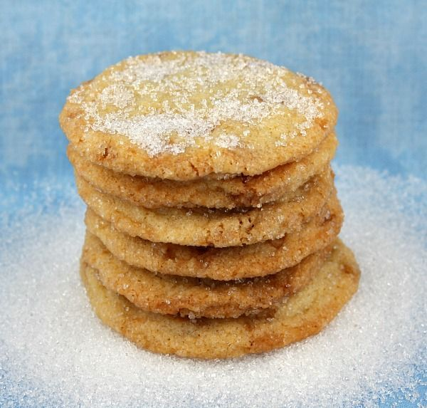 Love this quick and easy recipe for Sparkling Butter Toffee Cookies. A delicious sugar cookie studded w/ toffee bits. Photo included.