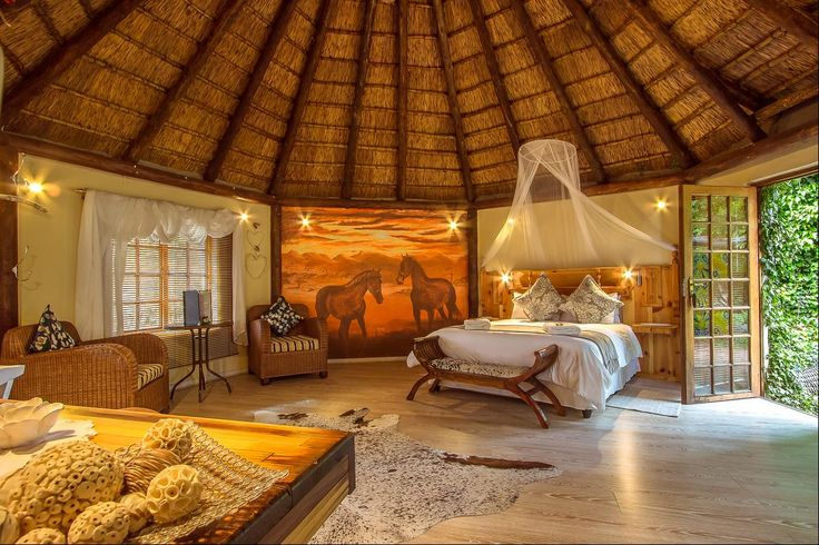 Experience authentic Karoo farm like while staying in this spacious thatched rondavel