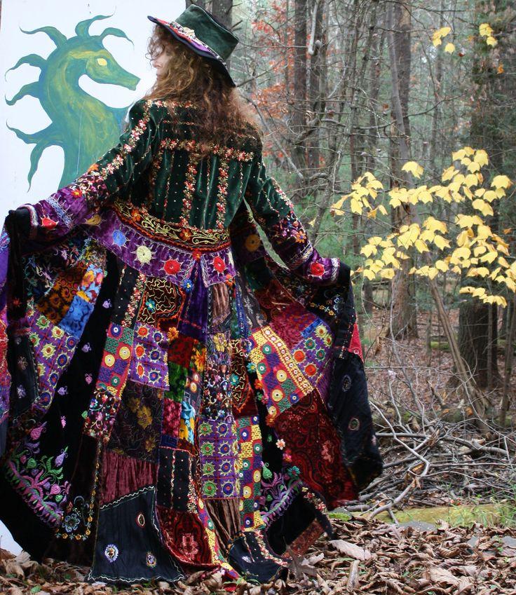 gypsy hippie velvet patchwork coat