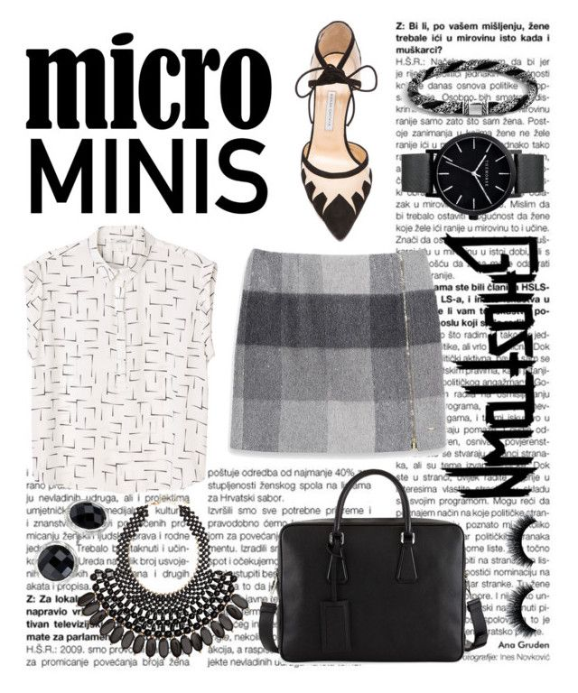 """Tricky Trend: Micro Minis"" by hippo14 ❤ liked on Polyvore featuring Tommy Hilfiger, Monki, Bionda Castana, Prada, H&M, The Sak, John Hardy, The Horse, TrickyTrend and WorkWear"