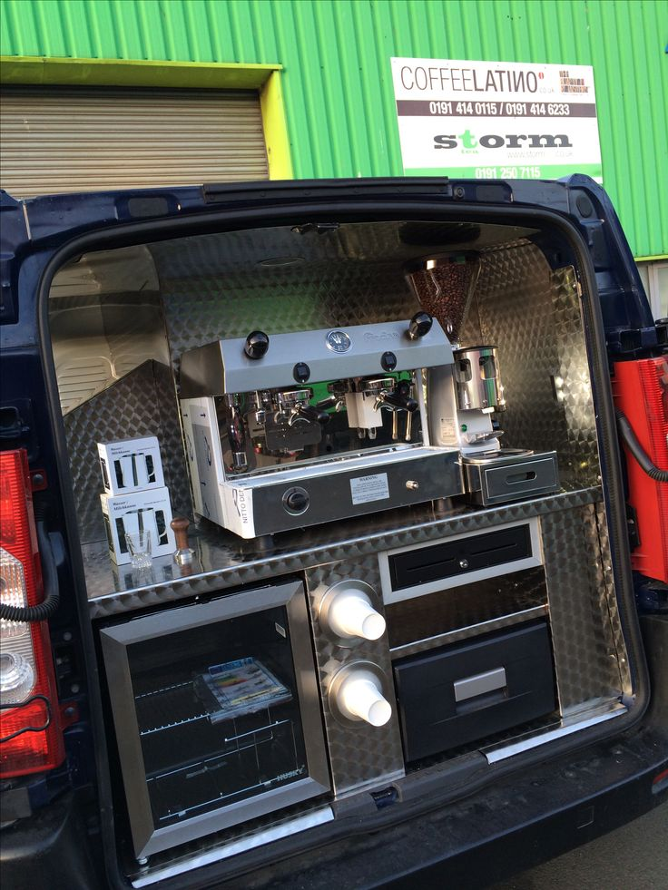 Coffee Van converted by Coffee Latino. www.coffeelatino.co.uk Coffee machine and grinders