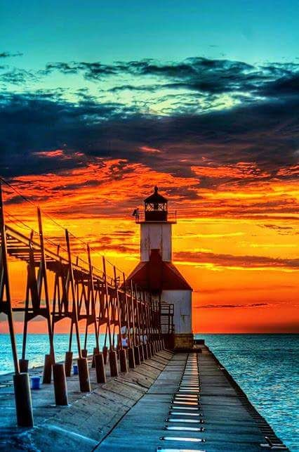 St.Joseph Michigan Lighthouse on Lake Michigan [426x643] yoga scenery - http://amzn.to/2iaVqk0