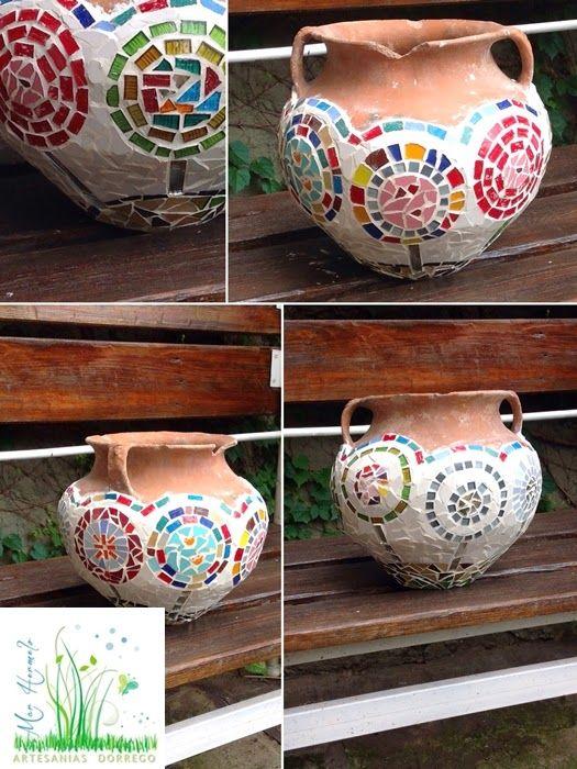 Artesanías Dorrego de Marcela Hermelo: Maceta rota reciclada - Mosaiquismo