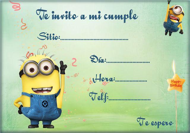 Tarjeta para invitaciones de cumpleaños de los Minions Invitaciones gratis para ti