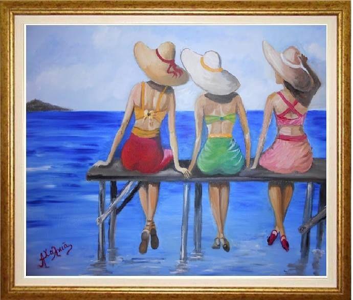 Αξέχαστες διακοπές ελαιογραφια σε μουσαμά ...!!!! cm 38x52  unforgettable holidays Oil on canvas ... !!!! cm 38x52