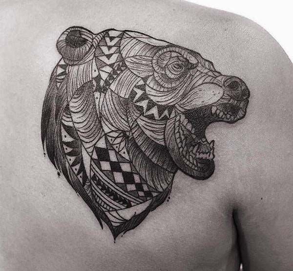 tribal bear tattoo