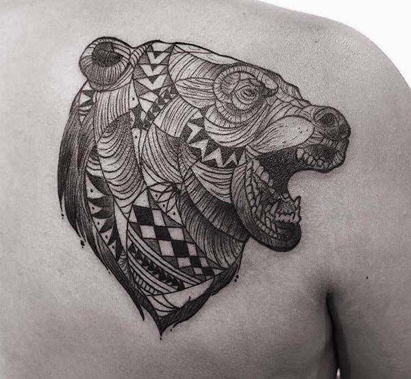 best 25 tribal bear tattoo ideas on pinterest wolf paw print wolf print tattoo and bear claw. Black Bedroom Furniture Sets. Home Design Ideas
