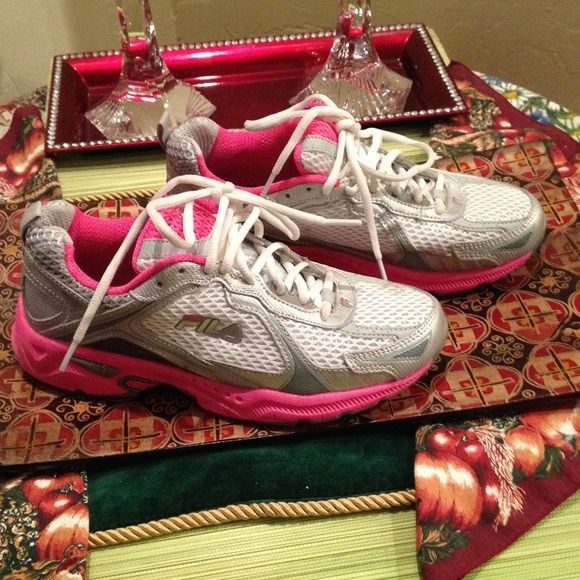 Fila Running Shoes Neon Pink & white & Silver Fila Running Shoes Size 7. Worn twice just not my size that is why I am selling Fila Shoes Athletic Shoes