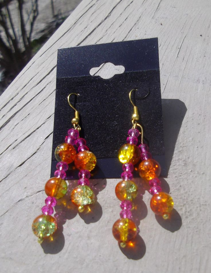"2.5"" Orange & Pink Glass & Crystal dangle Earrings"