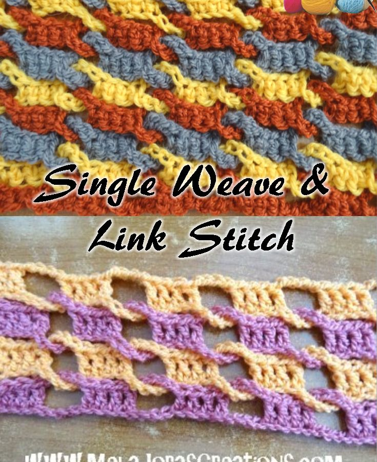 Single Weave and Link Stitch crochet tutorial, plus Left & Right Handed videos from Meladora's Creations.