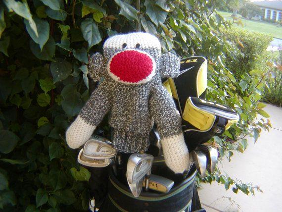 Sock Monkey Golf Club Cover by pillowtalkswf on Etsy, $35.00