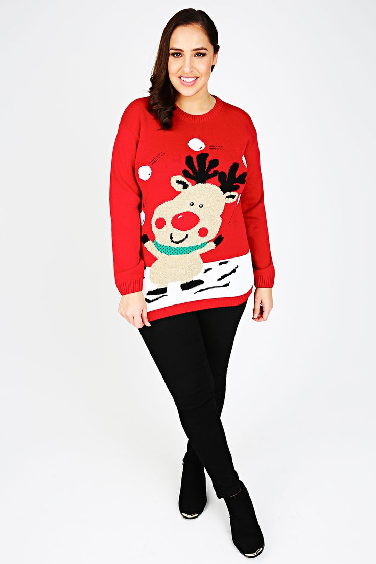 Red Knitted Rudolph Novelty Christmas Jumper