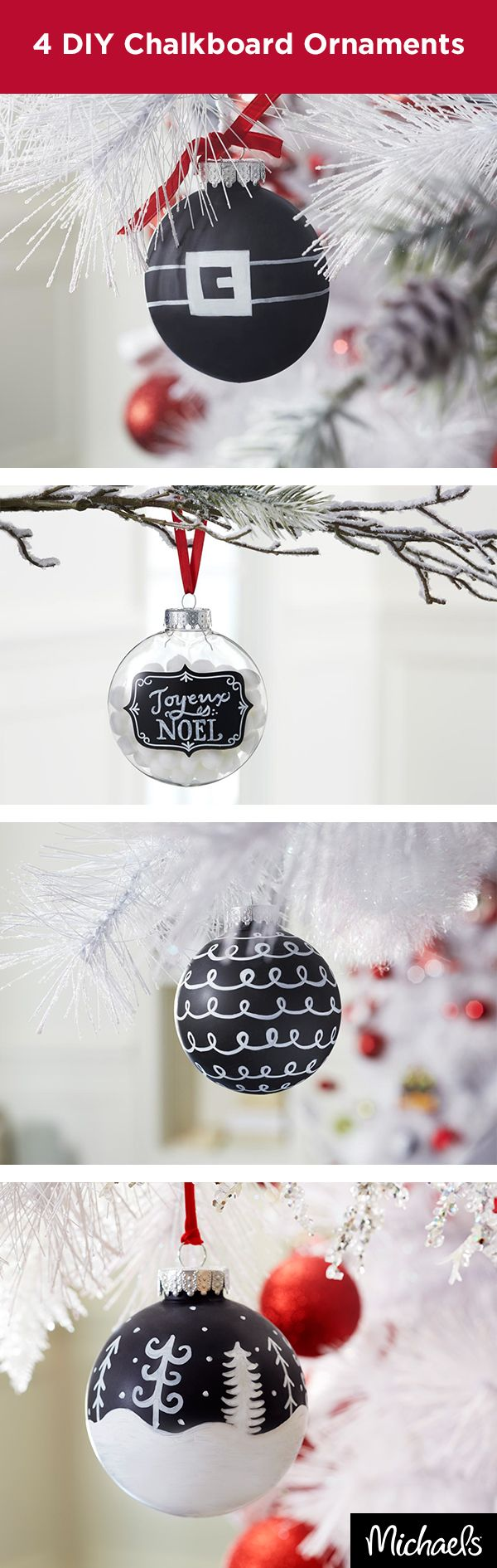 Creating a DIY ornament is easier than ever with chalkboard shatterproof ornaments. Use a chalk marker and decorate as desired for a handmade addition to your holiday tree. Find both the ornaments and chalk markers at your local Michaels store.