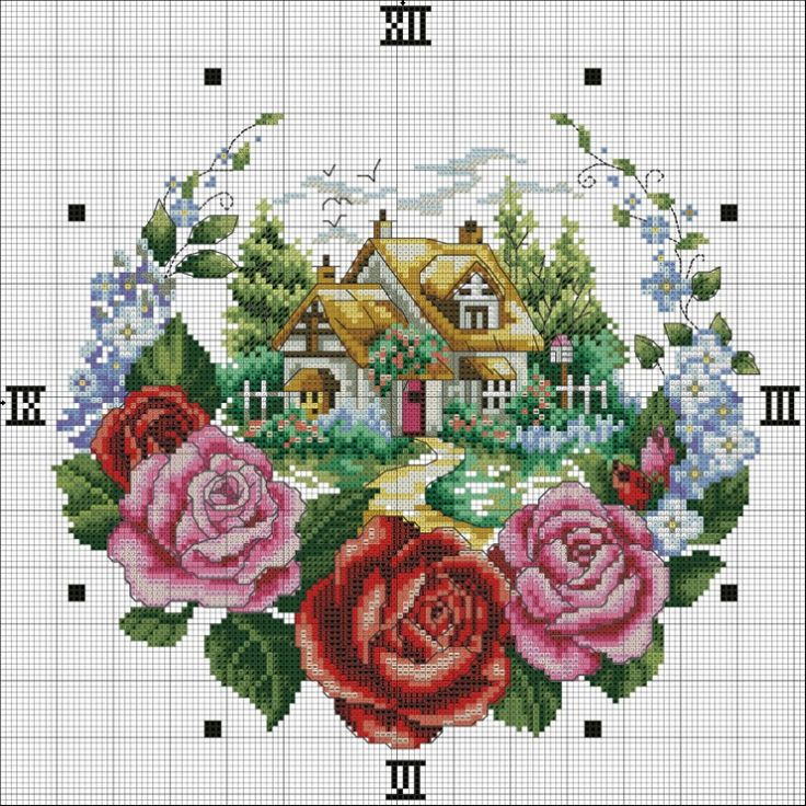 Cross Stitch free Pattern... clock Gallery.ru / Фото #4 - ***** - celita