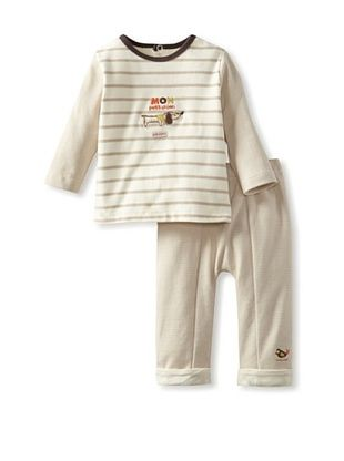 68% OFF Sucre d'Orge Baby Two Piece Top and Pants Set (Beige)