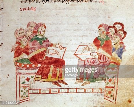 Fine art : School Scene. Miniature from De Universo (De Rerum Naturis), by Rabanus Maurus Magnentius a.k.a Rabanus Maurus (c.780_856). 9th century. Archives of the Abbey of Montecassino, Montecassino, Italy
