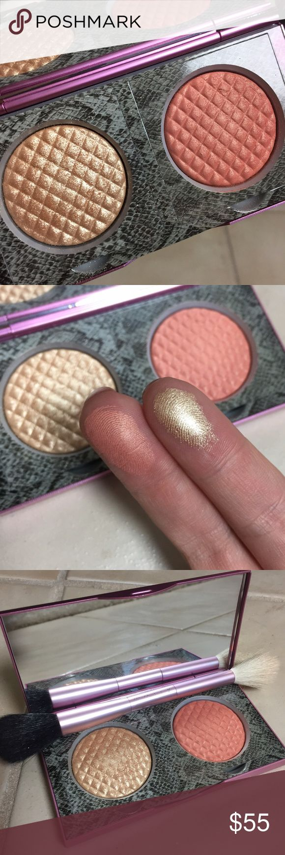 Mally effortless Airbrush Highlight/ Blush duo Sold out everywhere, discontinued and selling for $150 on eBay! Craziness. I have used this just a few times and swatched for posh to show how beautiful these are! The highlight is similar to MAC whisper of Gilt, or Laura Geller Gilded Honey. Recommended by Jaclyn Hill and sold out ever since! Mally Makeup Luminizer