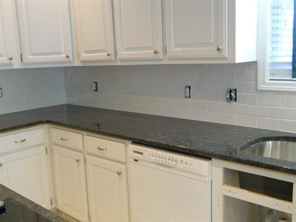 Steel Grey Granite White Subway Tile 1 Kitchen Grey