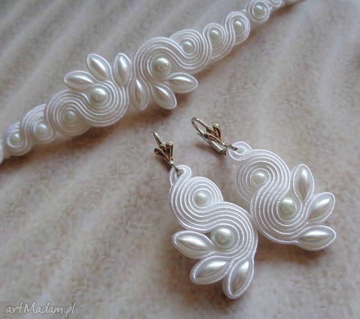 Mela kpl ślubny sutasz live kolczyki bransoletka- biały ślub art